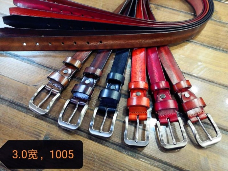MS head leather belt 1005 × 3.0 wide young and middle-aged RETRO art versatile simple plain needle buckle belt