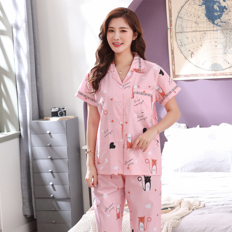 Summer pajamas womens thin pure cotton sexy short sleeve suit casual large loose comfortable home clothes two piece set