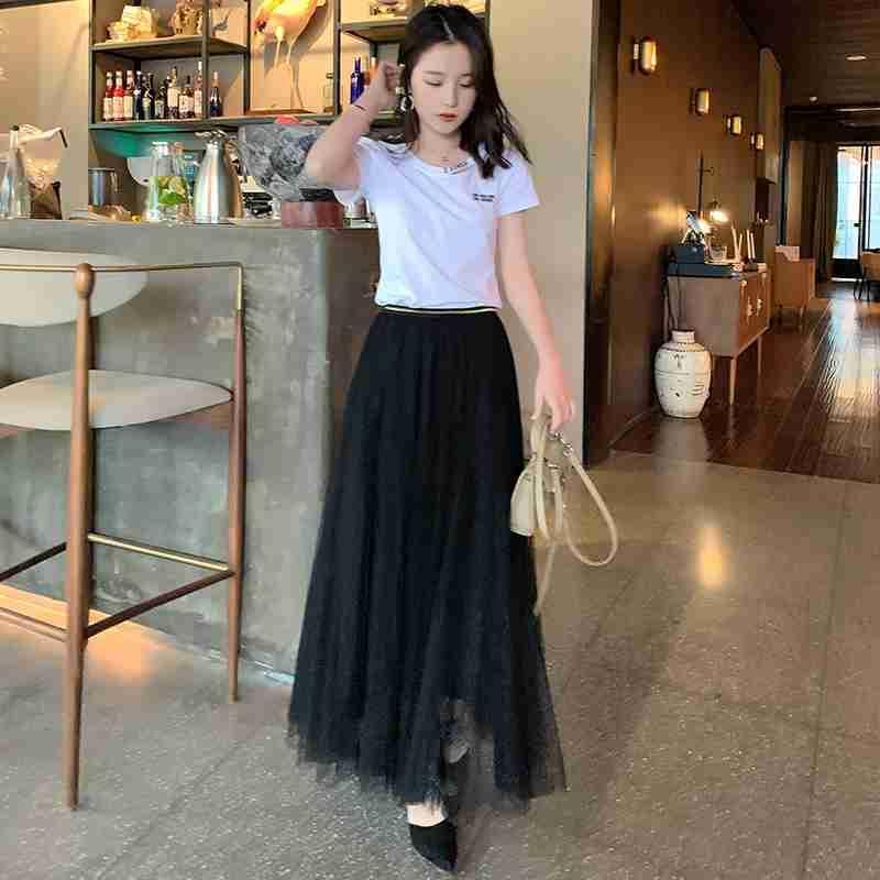 Summer Korean womens two piece set of white round neck short sleeve T-shaped black large swing mesh Skirt Dress Set