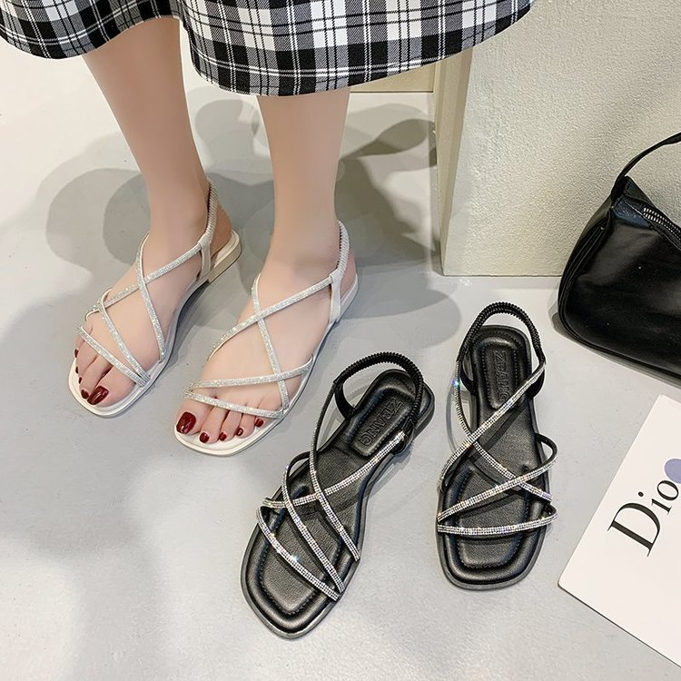 Earth change gold 2021 summer New Roman sandals womens PU flat bottom water drill open toe ribbon