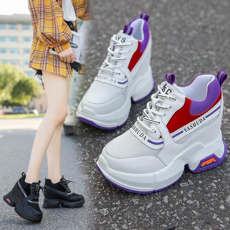 女士运动鞋内增高单鞋秋季坡跟网面韩版时尚跑步鞋女土休闲鞋百搭