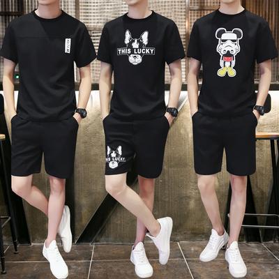 组合图夏季新款印花短裤短袖T恤套装 男潮流大码修身两件一套 P65