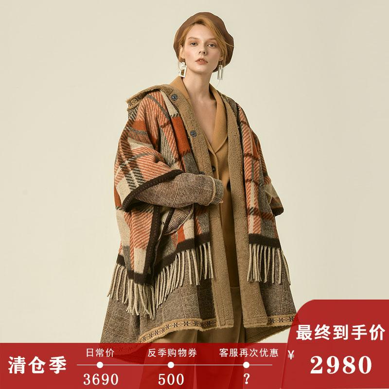 Fur one coat womens medium and long printed jacquard Merino Lamb Fur Real Fur straw tassel European coat