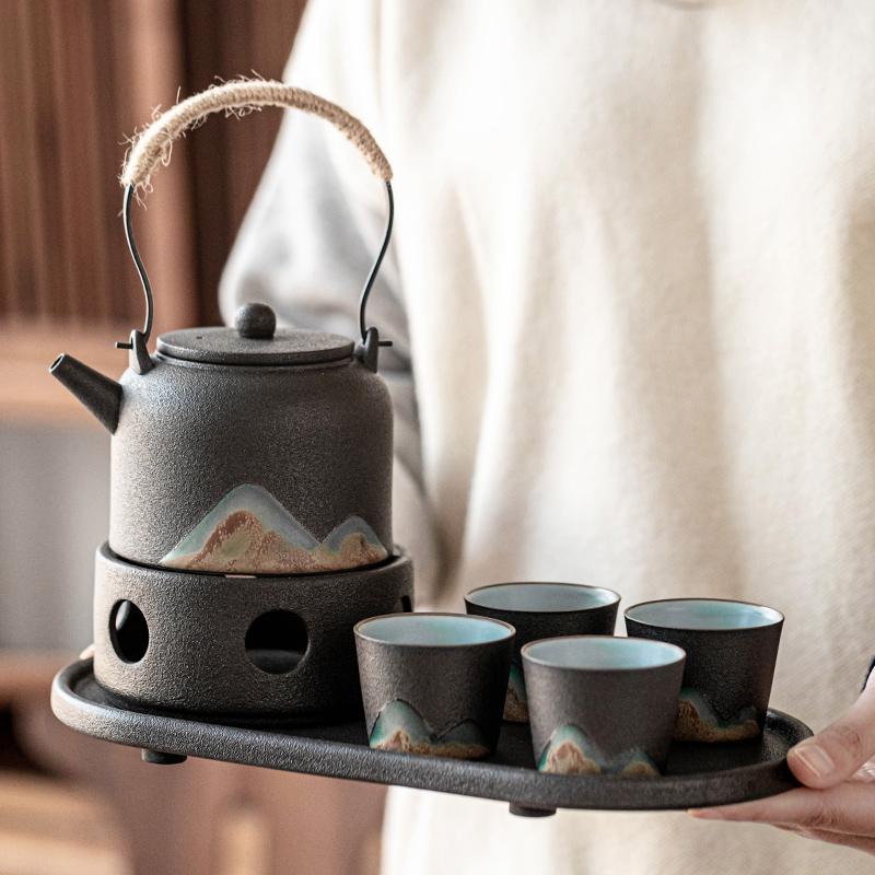远山功夫茶具套装日式泡茶壶陶瓷提梁壶家用送礼办公实用整套茶具