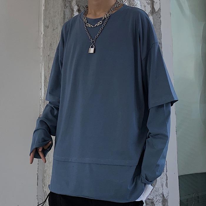 X9252-P43 春季20新款原宿风下摆宽松拼接长袖纯色假两件T恤情侣A