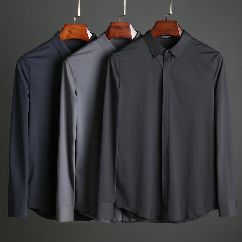 春秋丝滑无痕压胶弹力免烫 男士商务休闲修身长袖衬衫衬衣X1P0085