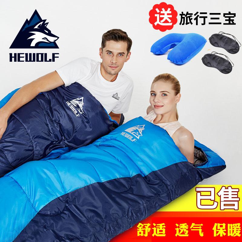 户外睡袋成人加厚信封式野营棉睡袋室内午休冬季超轻睡袋可拼双人
