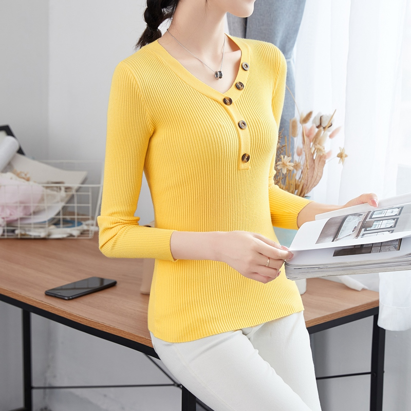 2020 new knitting thin bottoming blouse womens tight and sexy heart machine solid color low neck long sleeve Baita sweater