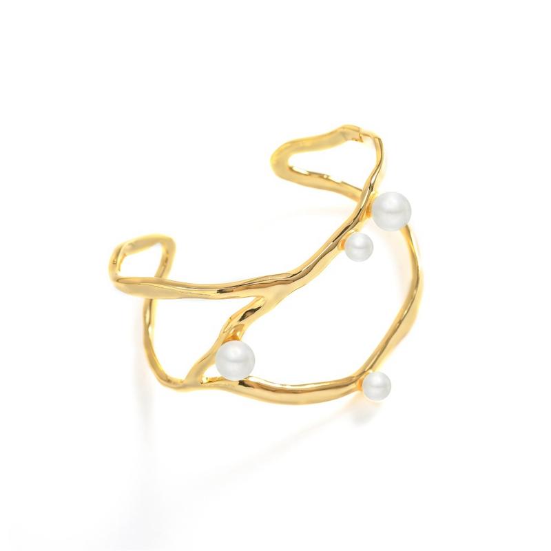 Melissa & Rosella small group design European and American irregular pearl inlaid open wide Bracelet geometric wind Bracelet