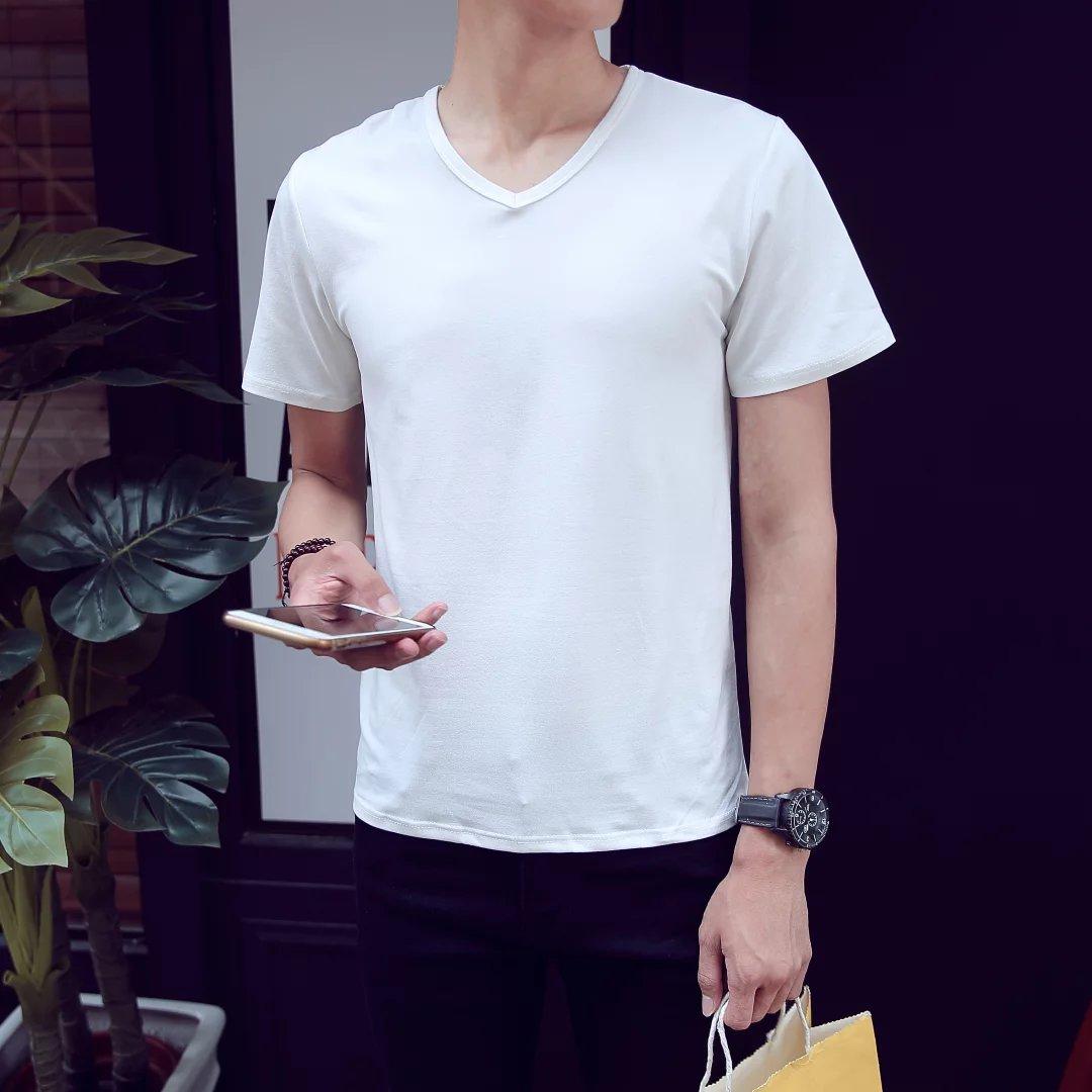 限100000张券莫代尔薄款男士短袖纯棉圆领潮t恤