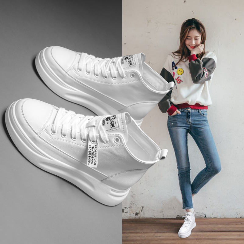 High top shoes womens 2019 new net red autumn shoes thick sole small white muffin white leather plush cotton shoes winter womens shoes