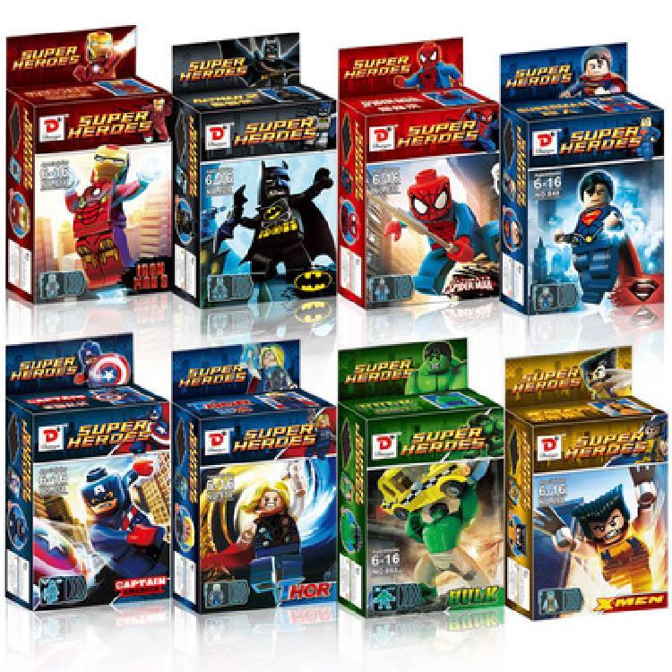A钢铁侠人仔复仇者联盟4超级英雄灭霸反浩克机甲男孩积木玩具
