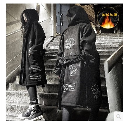 Winter Assassins Creed over the knee windbreaker mens fashion Plush medium length couples coat cape coat