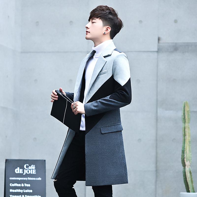Mens woollen coat Korean British windbreaker winter mens wear 2019 popular woollen coat mens medium length