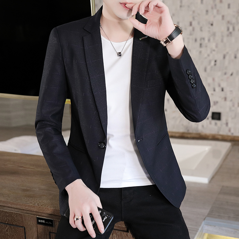 Spring and autumn mens suit coat middle aged Korean casual slim suit thin single piece Plaid mens jacket