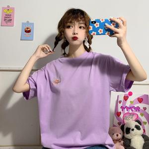 6803#实拍实价100%纯棉 紫色短袖T恤女装夏季2021新款网红