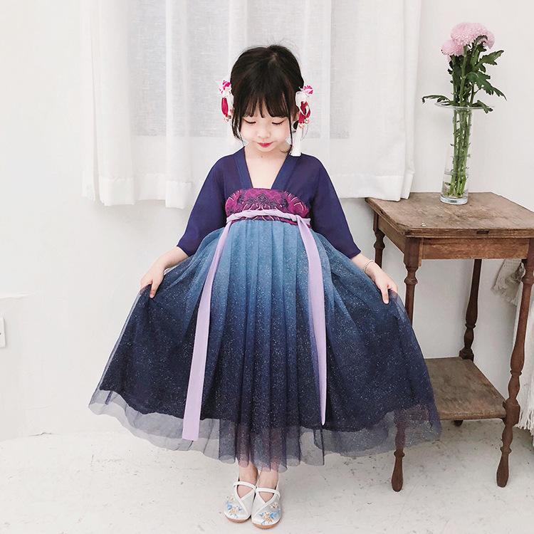 原创品牌童装女童汉服夏季民族风儿童连衣裙宝宝齐胸襦裙中国风