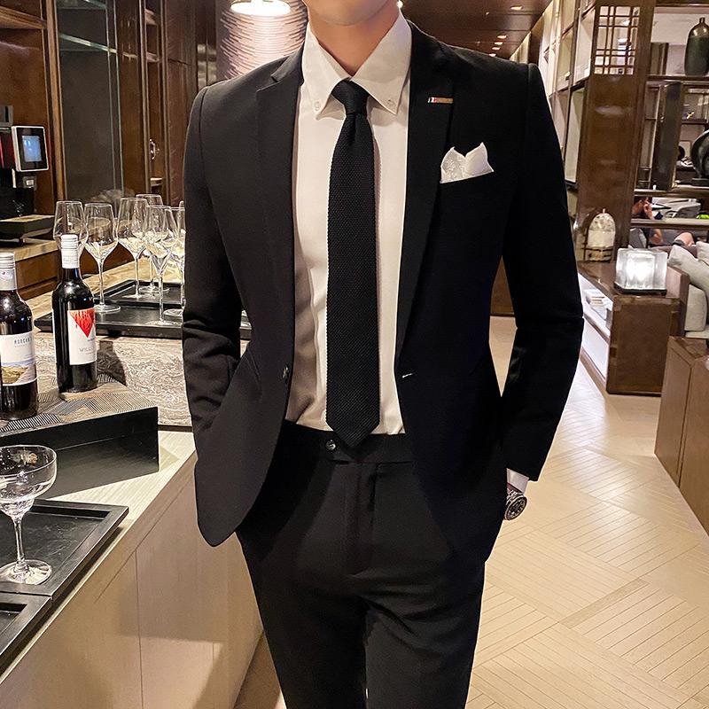 2020秋冬新款商务纯色西服套装修身西裤西装男士二件套TZ213-P225