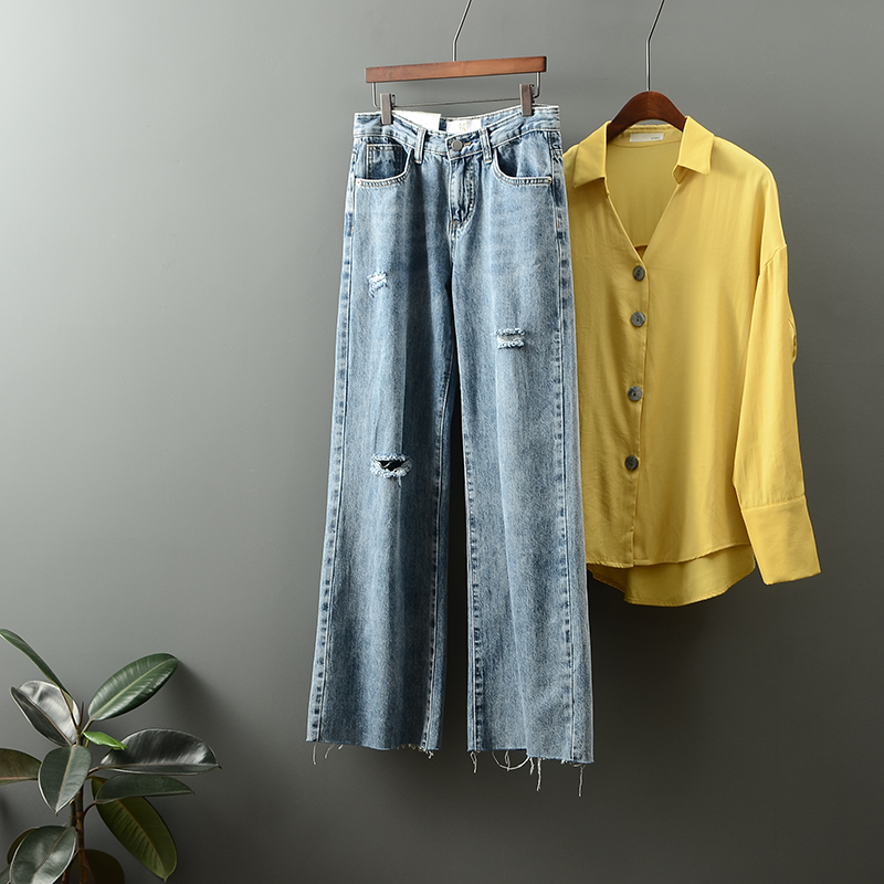 New high waist worn-out wide leg jeans for women in autumn and winter of 2019