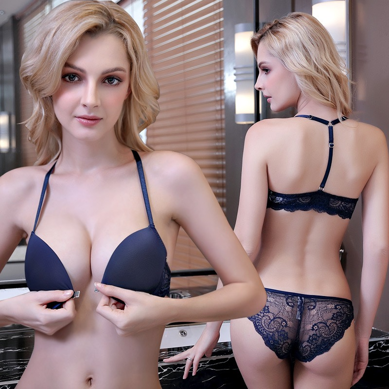 Victoria sexy European and American secret bra set with Y-shaped front button and beautiful back