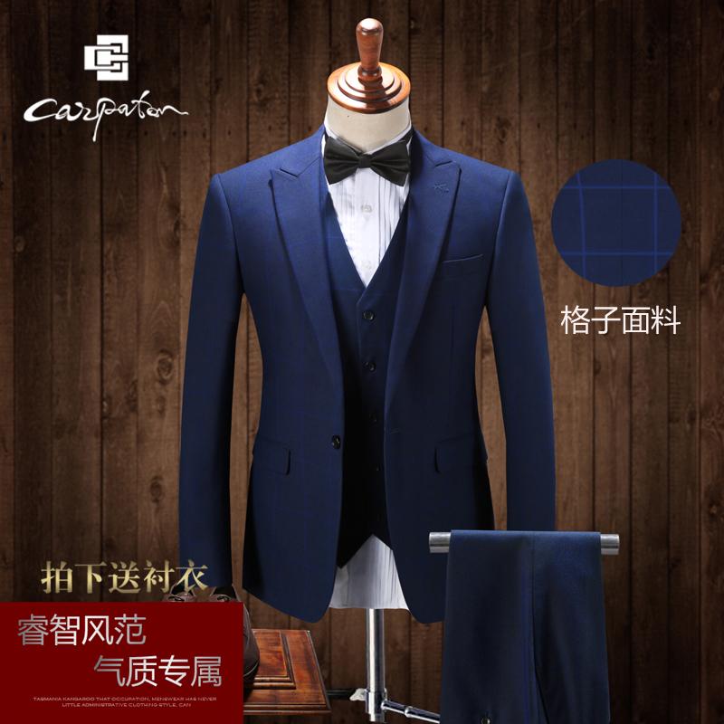 西服套装男三件套修身英伦格子青年韩版休闲西装套装新郎结婚礼服