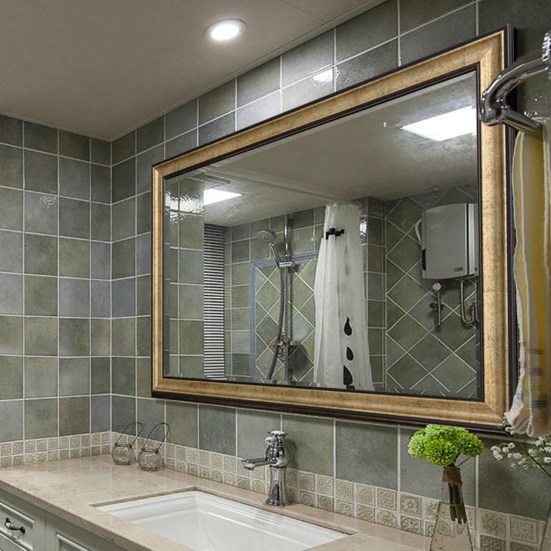 眾想 歐式簡約浴室鏡壁掛衛生間鏡子廁所防水衛浴鏡洗漱台化妝鏡