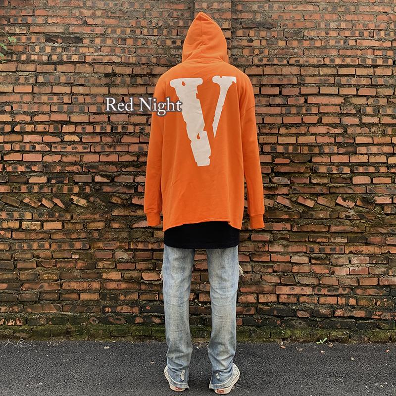 潮牌VLONE纽约奥斯汀限定白色大V连帽衫男女情侣宽松橙色套头卫衣