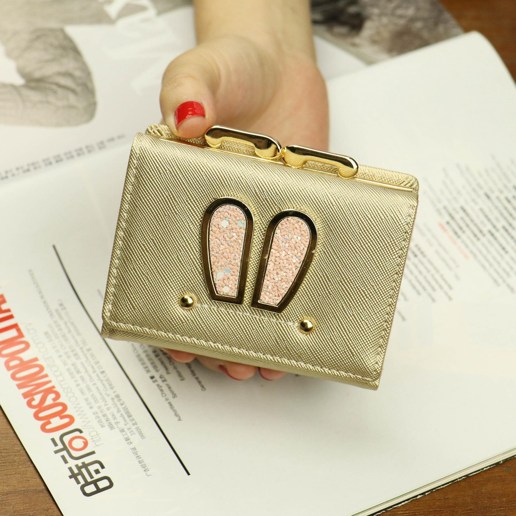 Purse womens short simple small purse womens short Korean fashion rabbit ear Mini zero purse buckle folding fashion