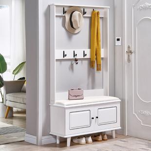 掛衣架白色歐式烤漆門廳櫃玄關隔斷 簡約現代鞋櫃衣帽櫃換鞋凳