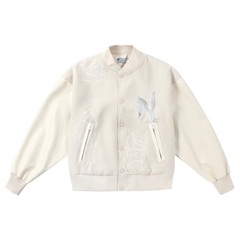 BANDITK GANGN毛呢拼接pu皮棒球服刺绣烫钻潮男女Vibe风白色外套