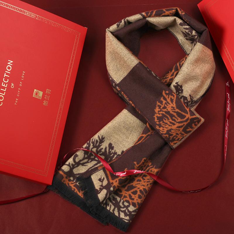 围巾女冬季妈妈中老年人中年老人围脖春秋奶奶百搭妇女红送礼盒装