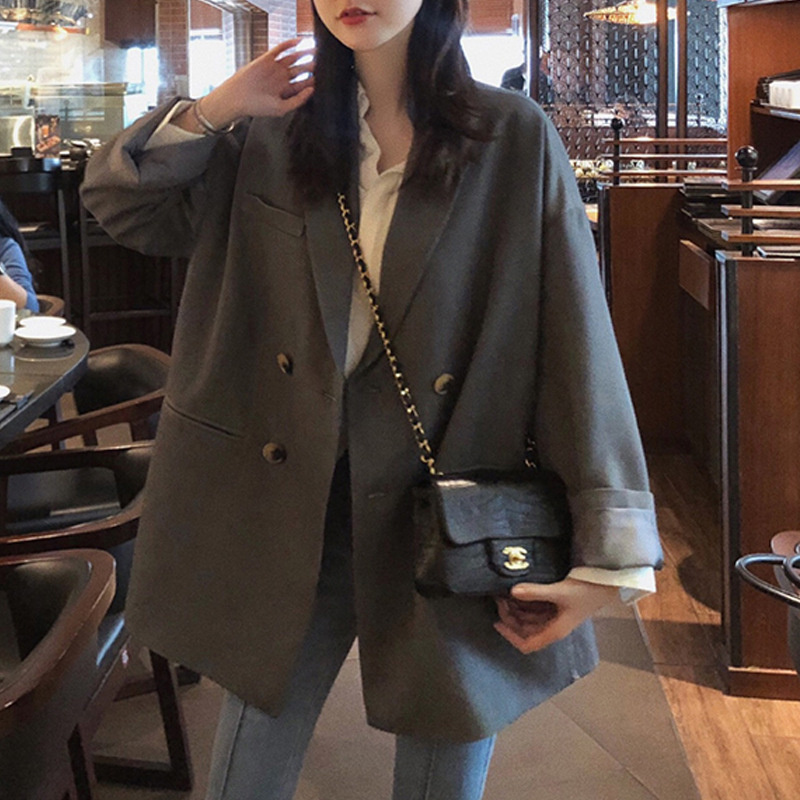 Small suit coat womens autumn Korean version retro British style casual loose and thin medium and long double breasted suit top