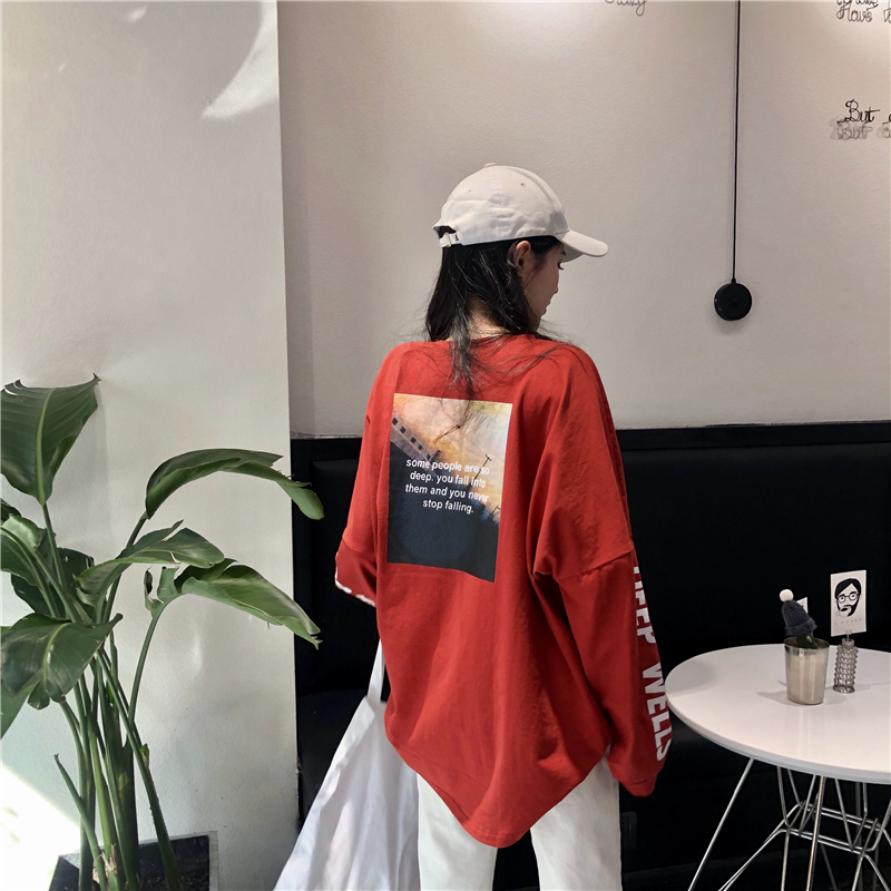 2019  Real Shot Price  4 Standard Qi  Letter Print Loose-Fit Was Thin Long-Sleeve T-shirt