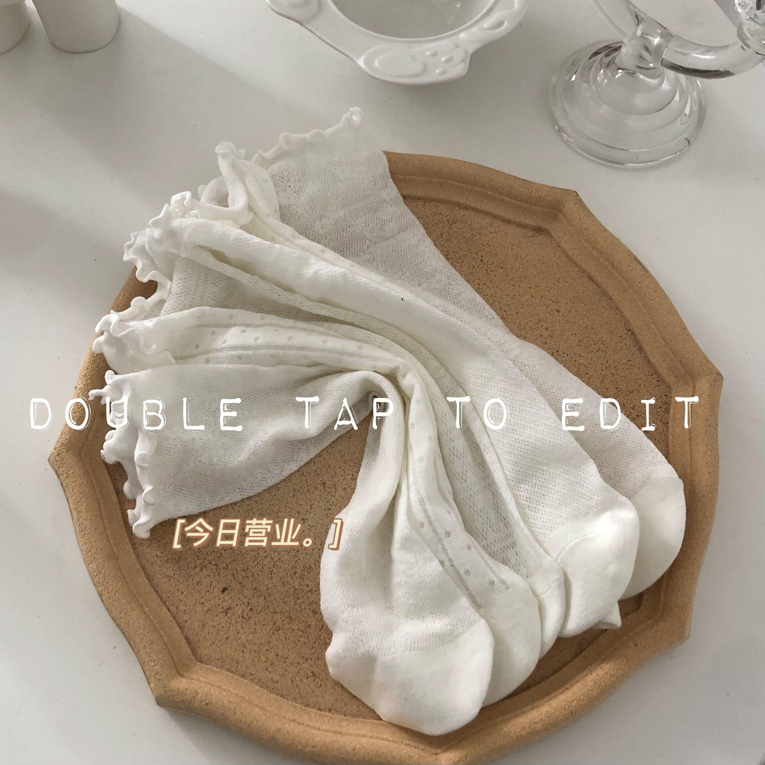 3双装宝宝木耳边袜子白色长筒袜网眼超薄高筒袜夏季薄款女童长袜