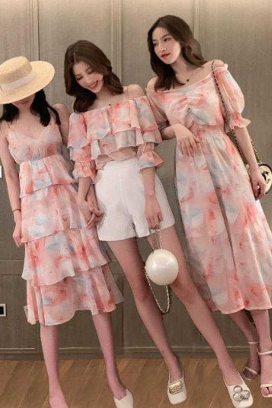 姐妹装闺蜜装夏装裙三人不一样的闺蜜装裙子三人沙滩裙海边度假仙限8000张券
