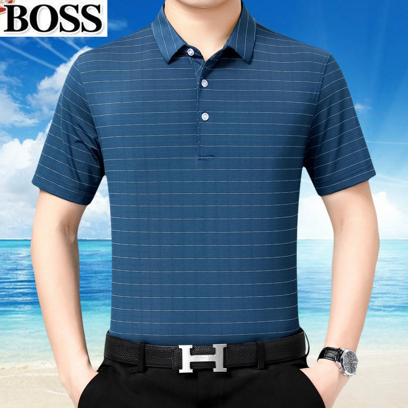 Boss2021 summer new middle-aged dads T-shirt Lapel stripe simple casual Pullover mens Short Sleeve T-Shirt