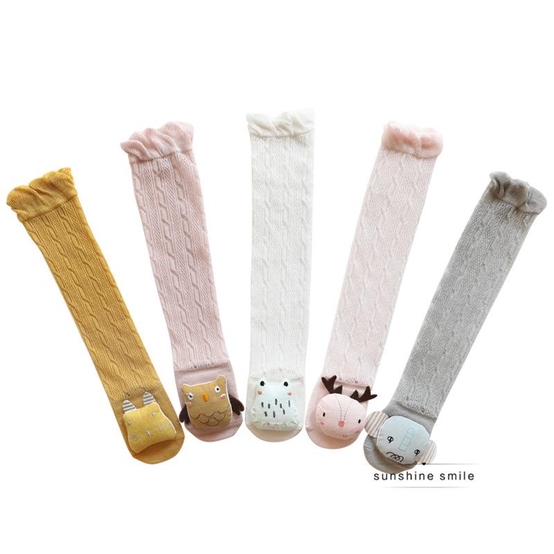 韩国代购宝宝过膝护膝袜子20年夏季网眼薄款棉防蚊婴儿卡通长筒袜