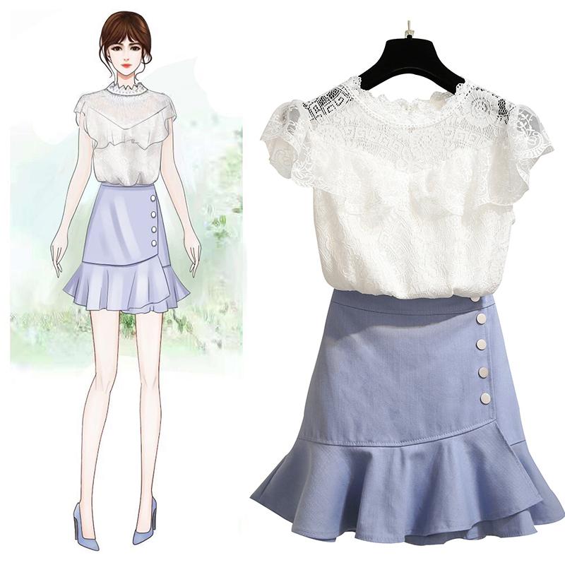 2019夏季新款女俏皮两件套时尚法国小众套装蕾丝衫配短裙气质洋气