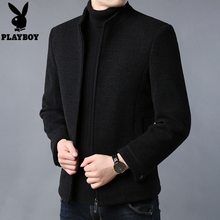 Playboy jacket men's autumn and winter short woolen coat men's vertical collar casual father's thick woolen top