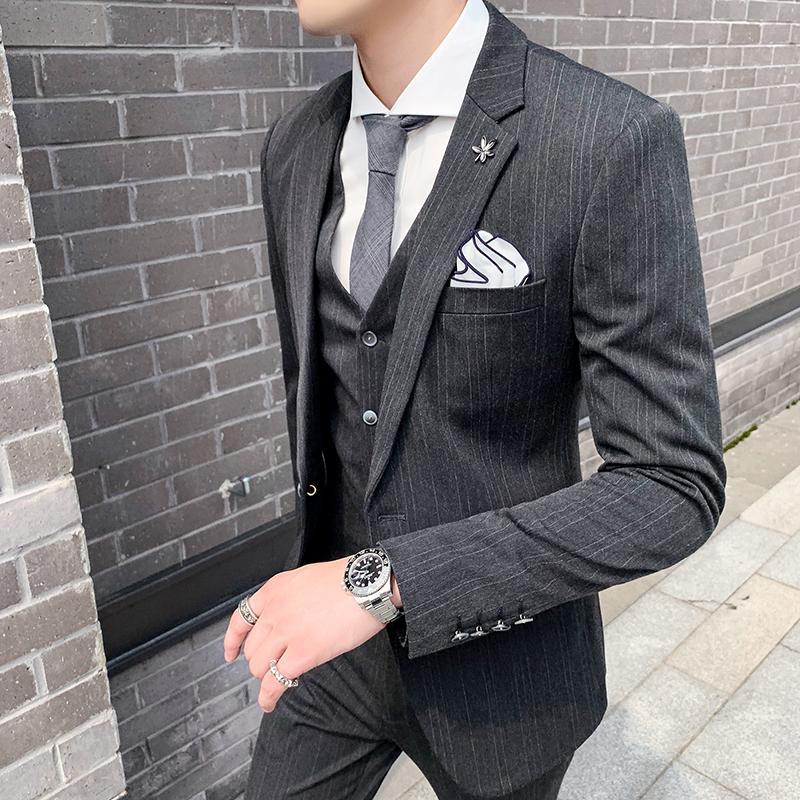 Grooms small suit mens three piece suit slim fit fashion dress stripe wedding dress uniform business handsome coat