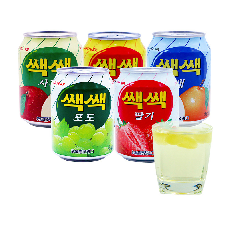 Lotte grape orange pear strawberry apple flavor beverage imported from South Korea 238ml canned leisure fruit