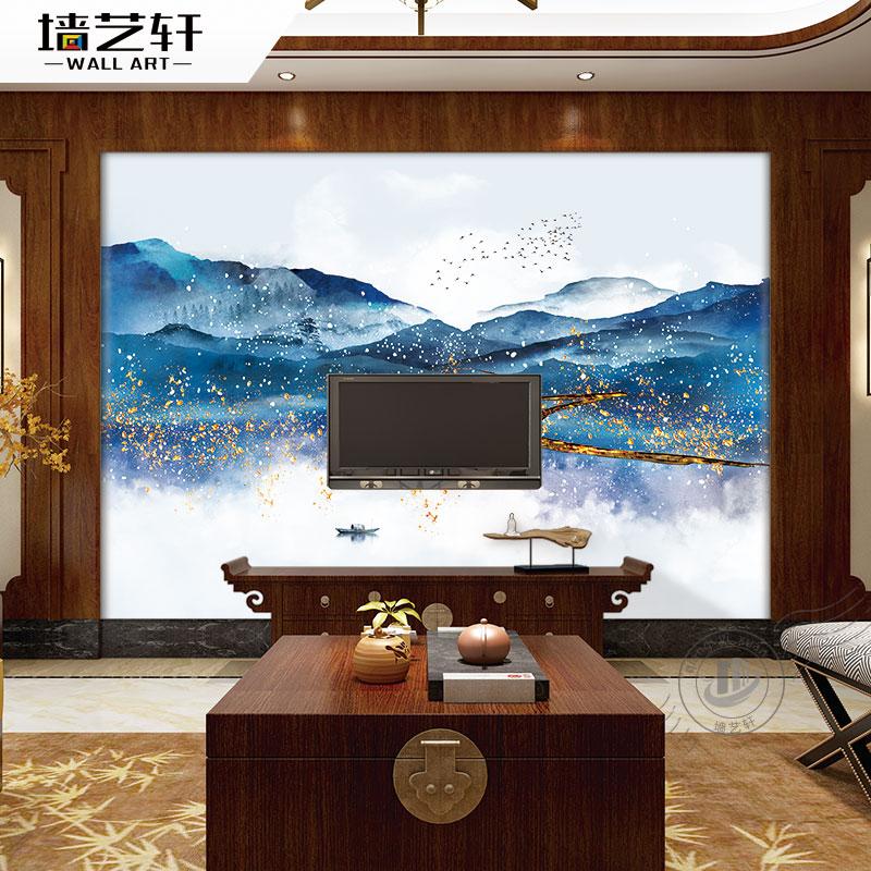 电视背景墙壁画新中式背景墙定制3D立体装饰5D墙布壁纸墙纸8D背景