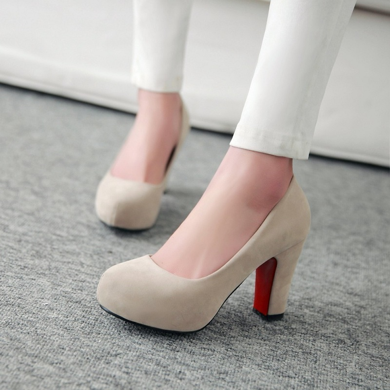 Spring and autumn of 2019 single shoe womens thick heel round head students shoes Korean etiquette shoes work shoes versatile high heels
