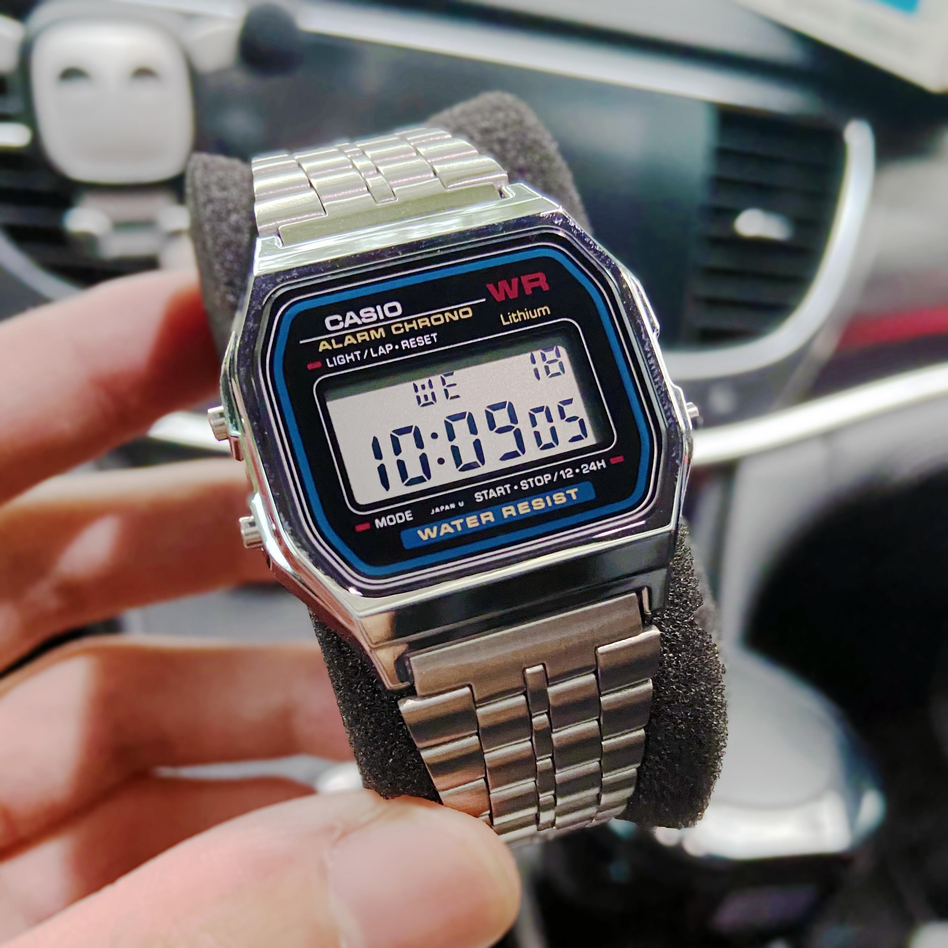 【日本制造】casio 卡西欧手表男小银表复古方块手表A159WA-N1DF图片