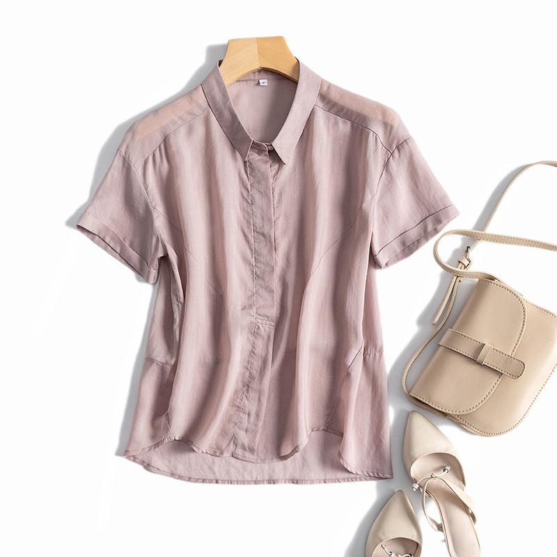 清新干练 上身温柔 简约百搭~ 品质好纯色天丝柔软丝滑短袖衬衫