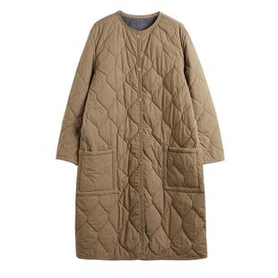 出口高密棉 復古森女系棉服女中長款寬鬆圓領大口袋棉麻加棉外套