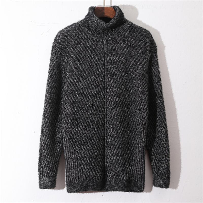 水貂绒雪尼尔高领毛衣男加厚款雪貂绒冬季保暖纯色宽松翻领针织衫