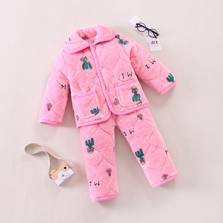 女童家居服套装冬天儿童法兰绒加厚睡衣小孩中大童珊瑚绒三层夹棉