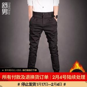 2019秋冬款黑色休闲裤男装韩版修身弹力潮流男士加绒长裤小脚西裤