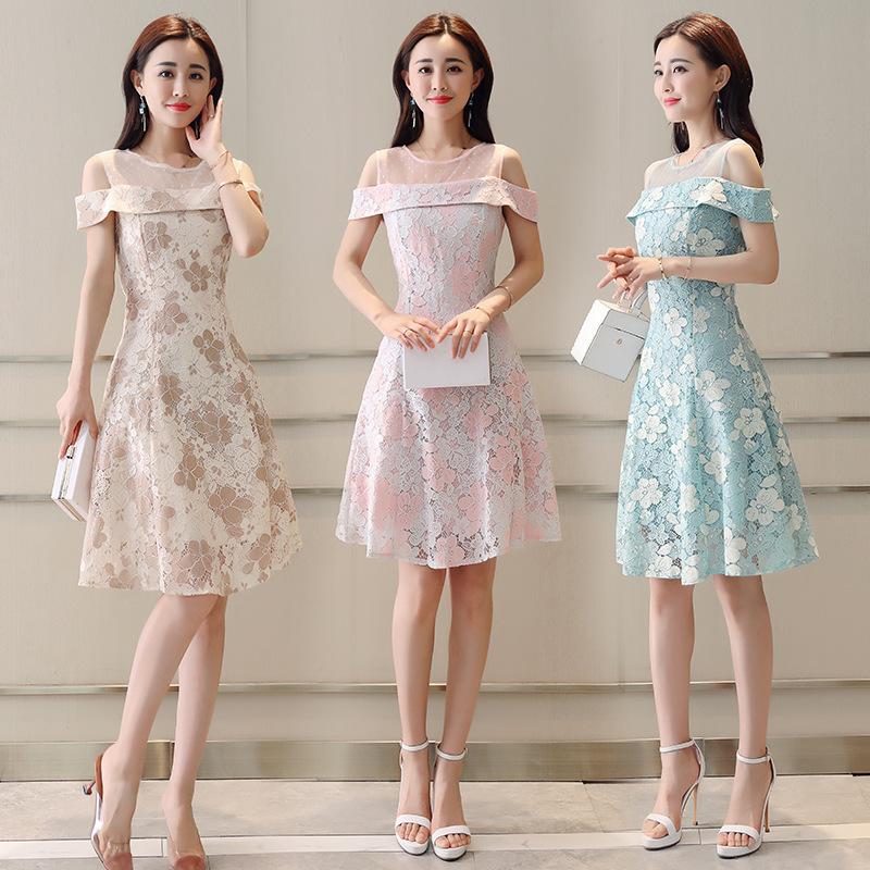 新款女装气质礼服高腰一字肩露肩白色蓬蓬蕾丝连衣裙短裙RE4119